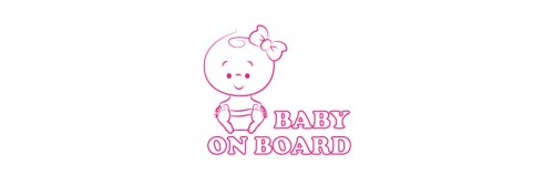 Aufkleber Baby on Board rosa
